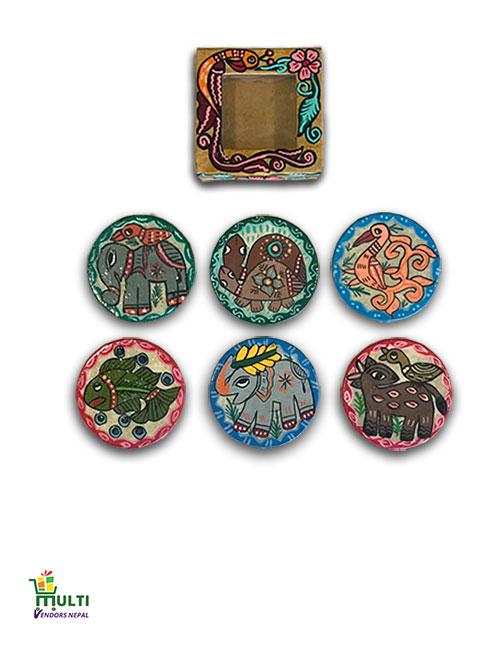 M.V.S-12-Mithila Art-Paper Tea Coaster-Set-Box