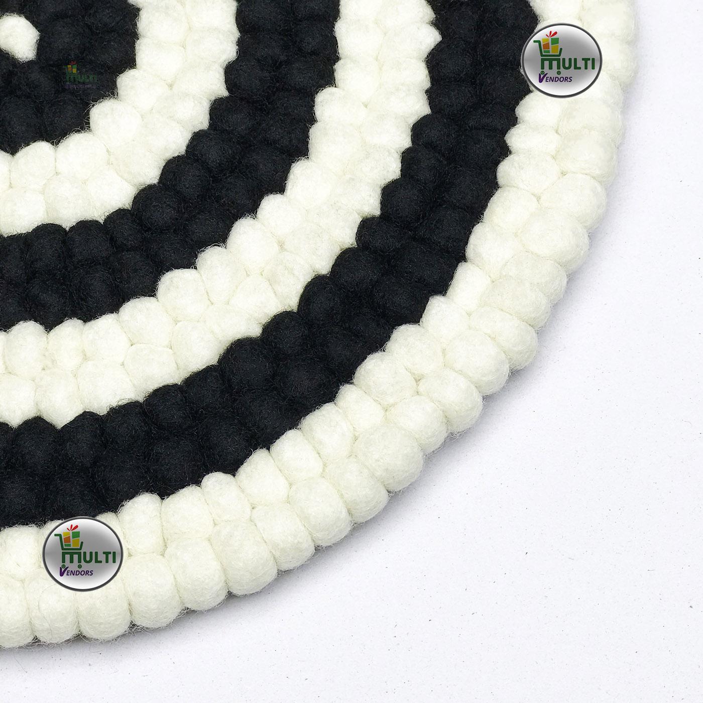 Round  Black and White Ring Design  Felt Ball  Rug -21515A