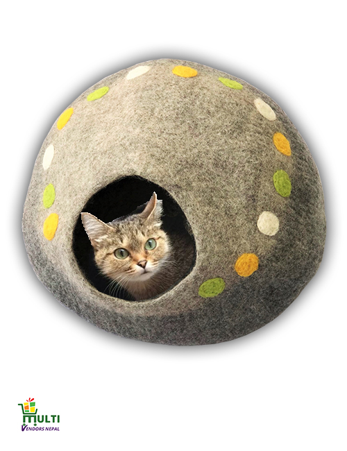 Color Spotted Dark Grey Cat Cave