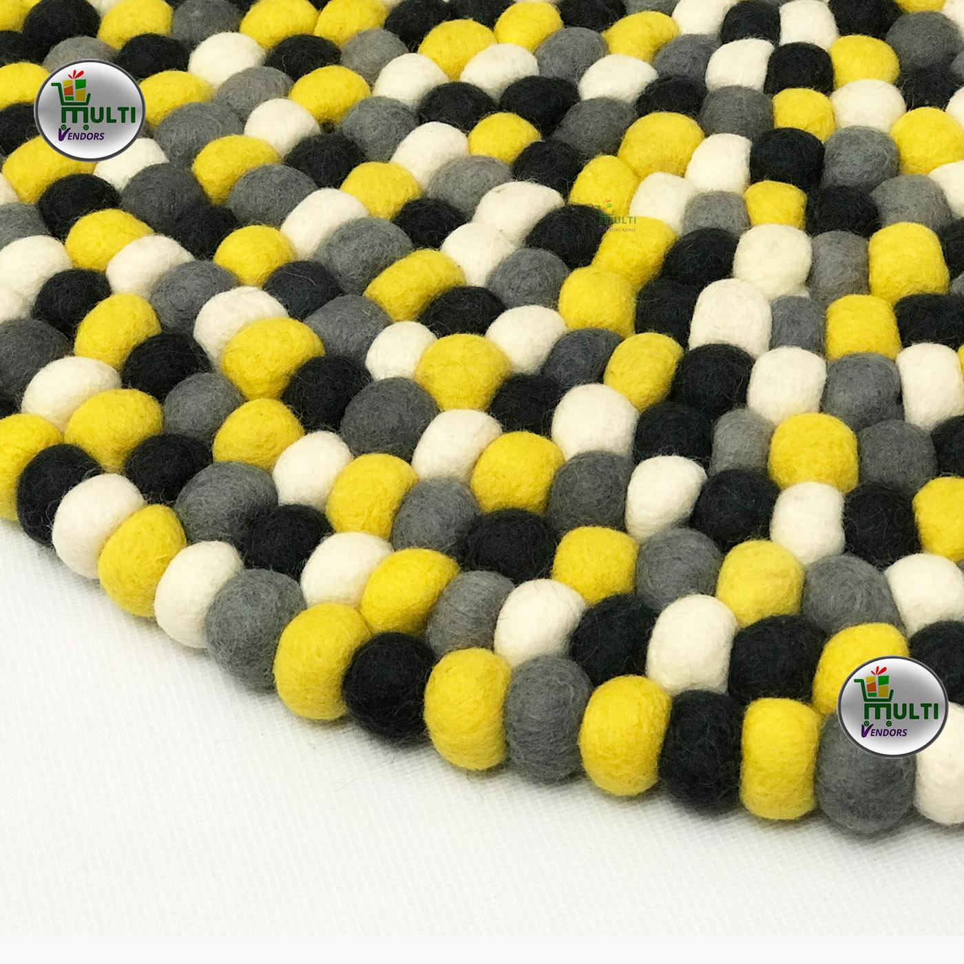 Round  Multi Color Felt Ball Rug -21508A