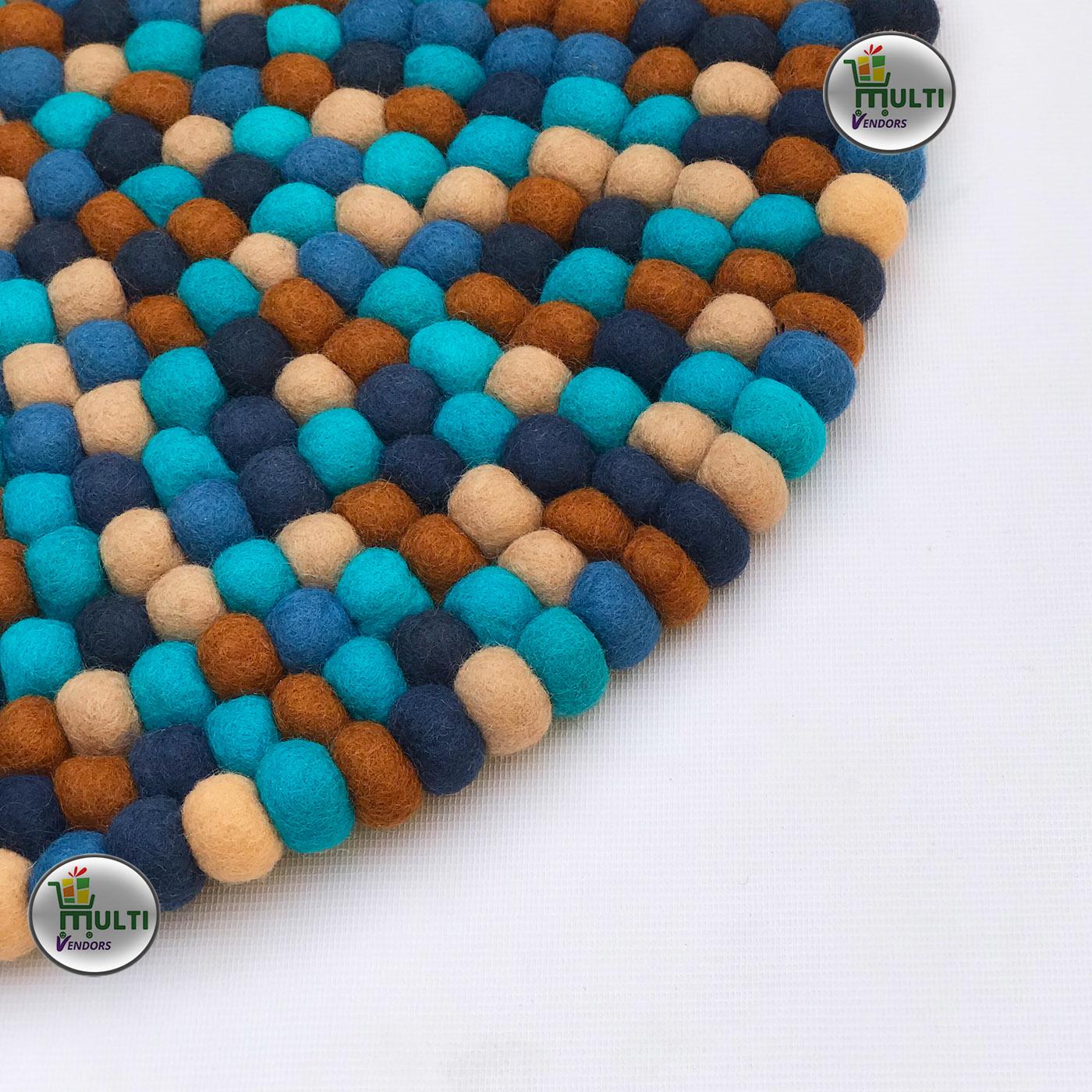 ROUND BLUE-BEIGE MULTI COLOR FELT BALL RUG-MVSEB-BM- 21523A
