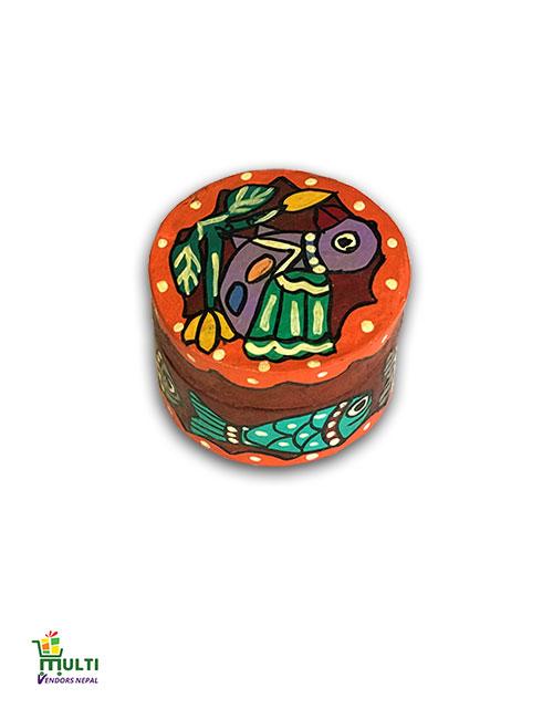MM.V.S-14-Mithila Art-Paper Round Gift Box.