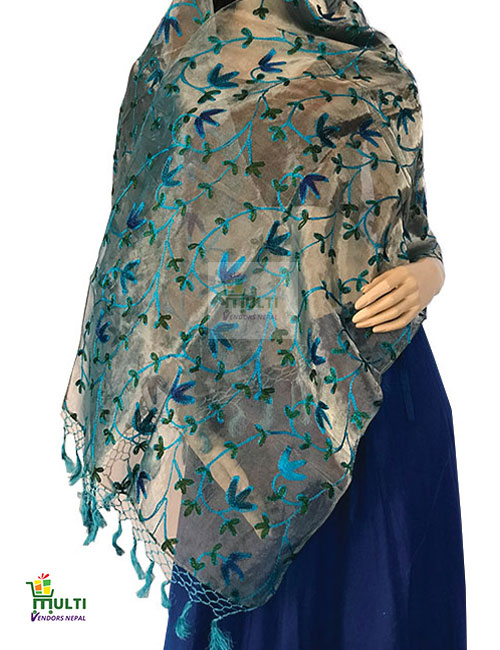 PB 276-A EMBROIDERED SILK SCARF