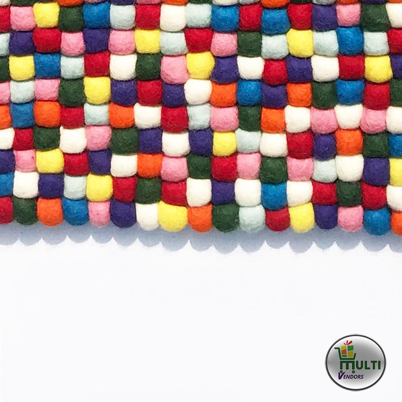 Rectangular  Multi Color Felt Ball Rug -MVKS-104