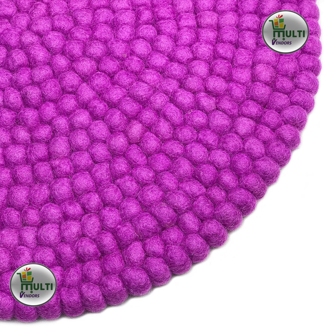 Round Magenta Color Felt Ball Rug -PU-21519
