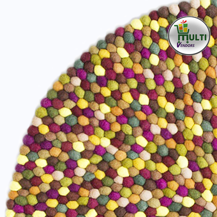Round  Multi Color Felt Ball Rug M.V.N.U-01-20
