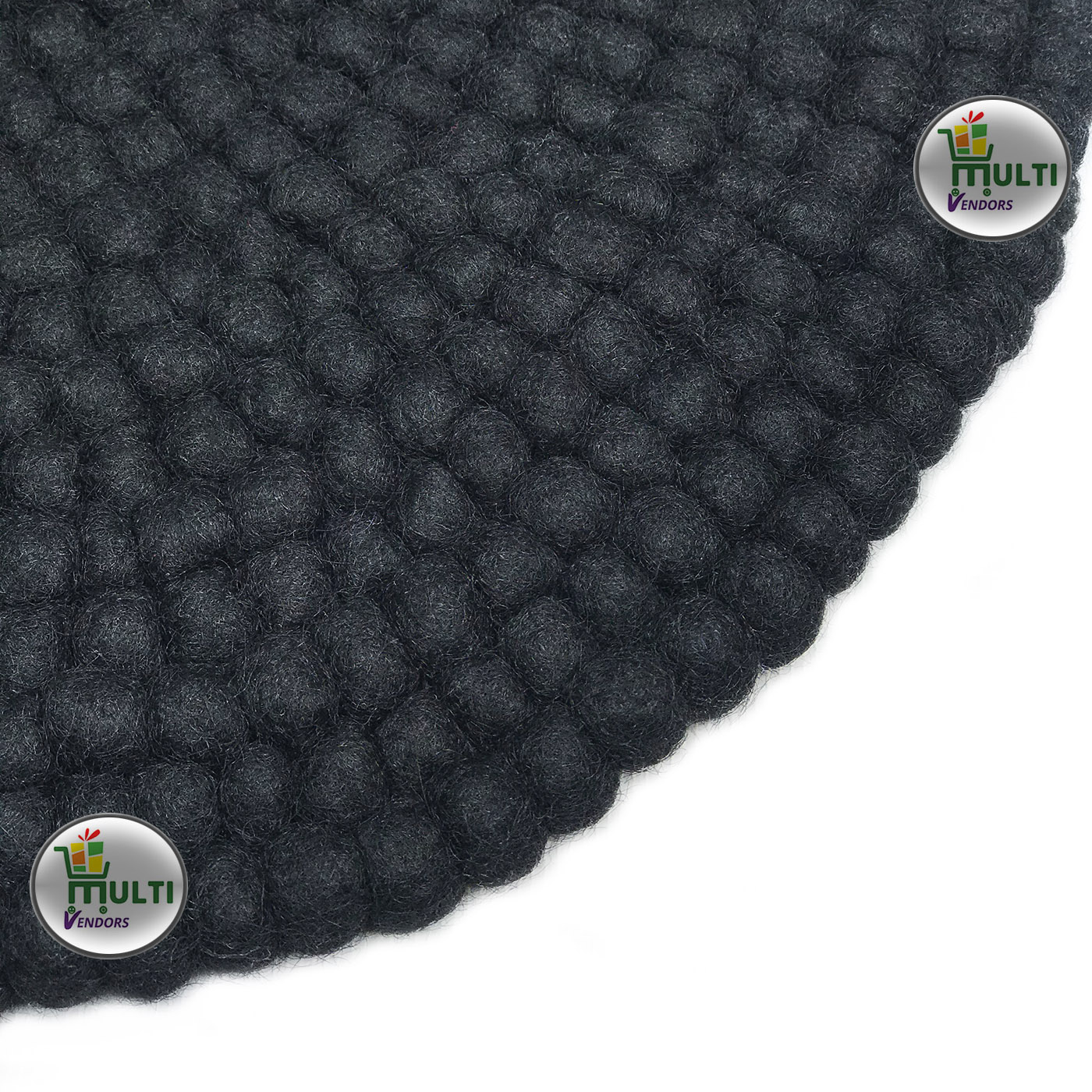Round Plain Black Felt Ball Rug -BR-21518